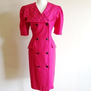 Vintage Braemar petites fuscia button up dress